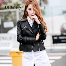 2017 new was thin body pu leather jacket short round neck Korean womens clothing women 17015