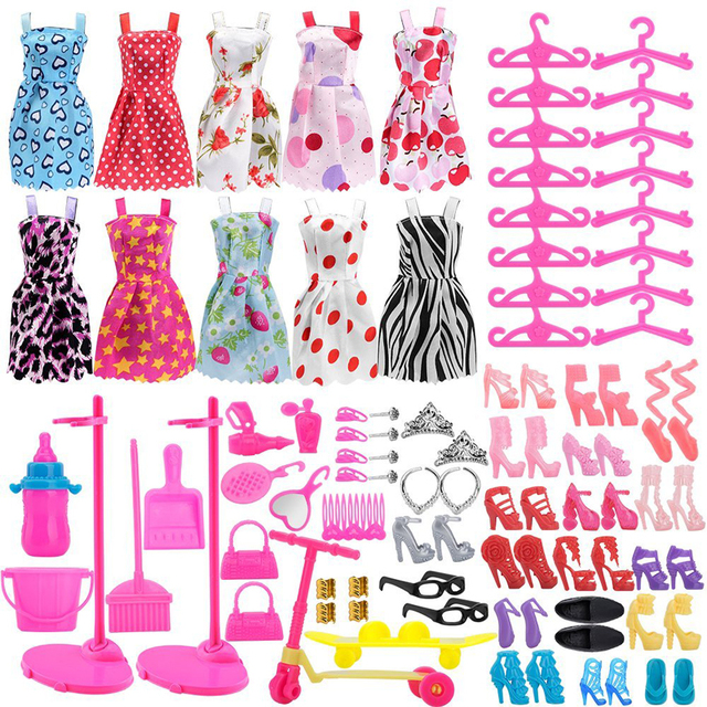 4b59d25b640 Rosana 10 Pcs Fashion Skirt Dresses +14 Pairs Shoes +16 Clothes Hangers +2  Doll Stand holders +68 Accessories for Barbie Dolls