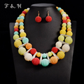 2016 Nigerian Wedding India Jewelry Sets Vintage Bohemian Statement Necklace Multi layer Beads Necklace Sets Wedding Accessories