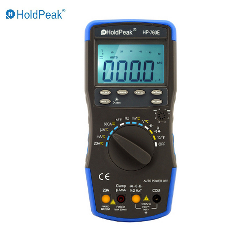 HoldPeak HP-760E Auto Ranging Digital Multimeter Meter with Min Max Value/Duty Cycle/Frequency/Temperature Test and Carry Bag mini multimeter holdpeak hp 36c ad dc manual range digital multimeter meter portable digital multimeter