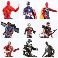 16 cm LED Super Heróis Ironman Spiderman Action Figure Brinquedos conjunto Vingadores Deadpool Filme Anime Brinquedos para Crianças Figuras de Natal