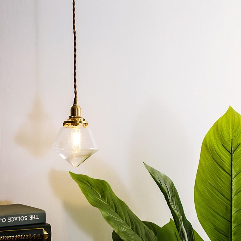 EL Diamond shape Vintage Glass Brass Pendant Lamp Bedroom Livingroom Indoor Lighting