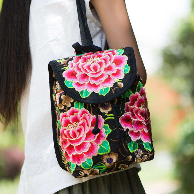 Vintage Embroidery Ethnic Canvas Backpack Women Handmade Flower Embroidered Travel Bags Schoolbag Backpacks Rucksack Mochila newest hmong embroidered women backpack black canvas ethnic casual travel backpack fashion vintage laptop bags