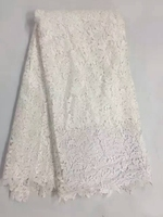 High Quality Guipure Lace Milk Silk African Cord Water Soluble Lace Fabric For Women Dress Party