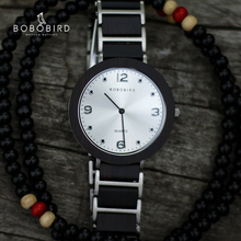 BOBO BIRD relojes de madera de acero inoxidable para mujer, de 6mm, ultrafino, resistente al agua, de cuarzo japonés, para hombres, regalos geniales