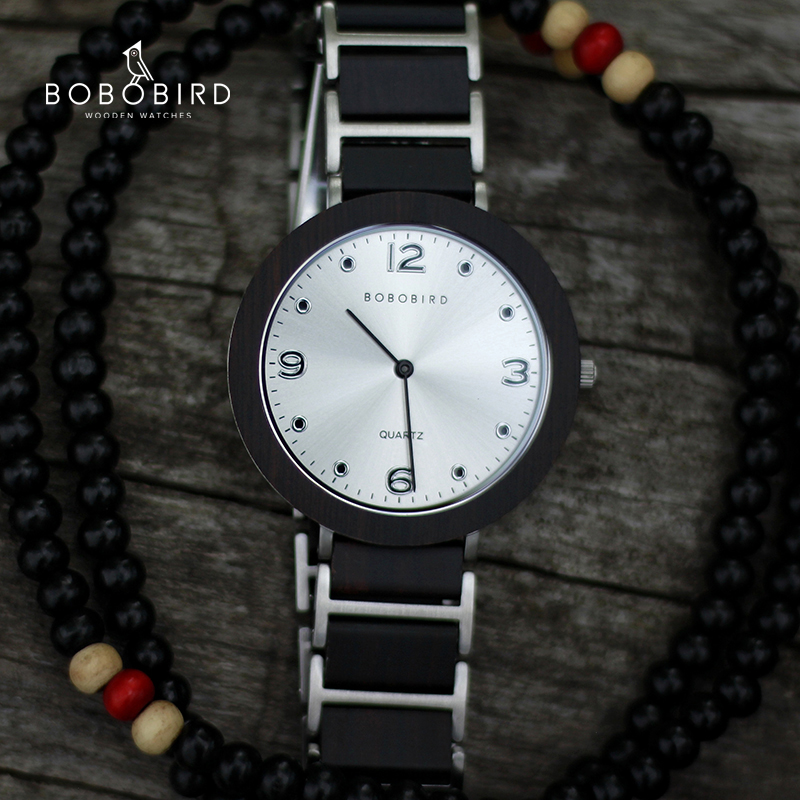 BOBO PÁSSARO De Madeira de Aço Inoxidável Mulheres Relógios 6mm Ultra-fino Impermeável de Quartzo de Japão Homens Relógio Grandes Presentes Dos Amantes