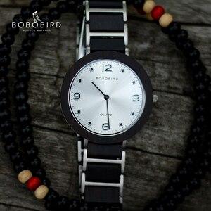 Image 1 - BOBO VOGEL Holz Edelstahl Frauen Uhren 6mm Ultra dünne Wasserdicht Japan Quarz Männer Uhr Lovers Große Geschenke
