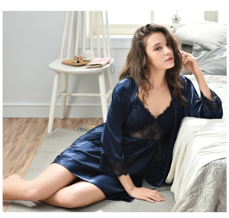 45b70f5b44 2019 Xifenni Sexy Silk Robe Sets Female Elegant Lace Bathrobe + ...