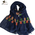 [Marte&Joven] Color Leaf Embroidered Long Scarves and Wrap for women Fashion Design Casual Cotton Blends Scarf and Shawls