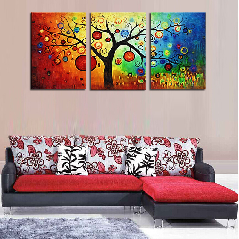 Unframed 3 Pieces Abstract Colorful Tree Modern Home Wall Decor Canvas Picture Art Hd Print Painting On Artworks In Calligraphy From