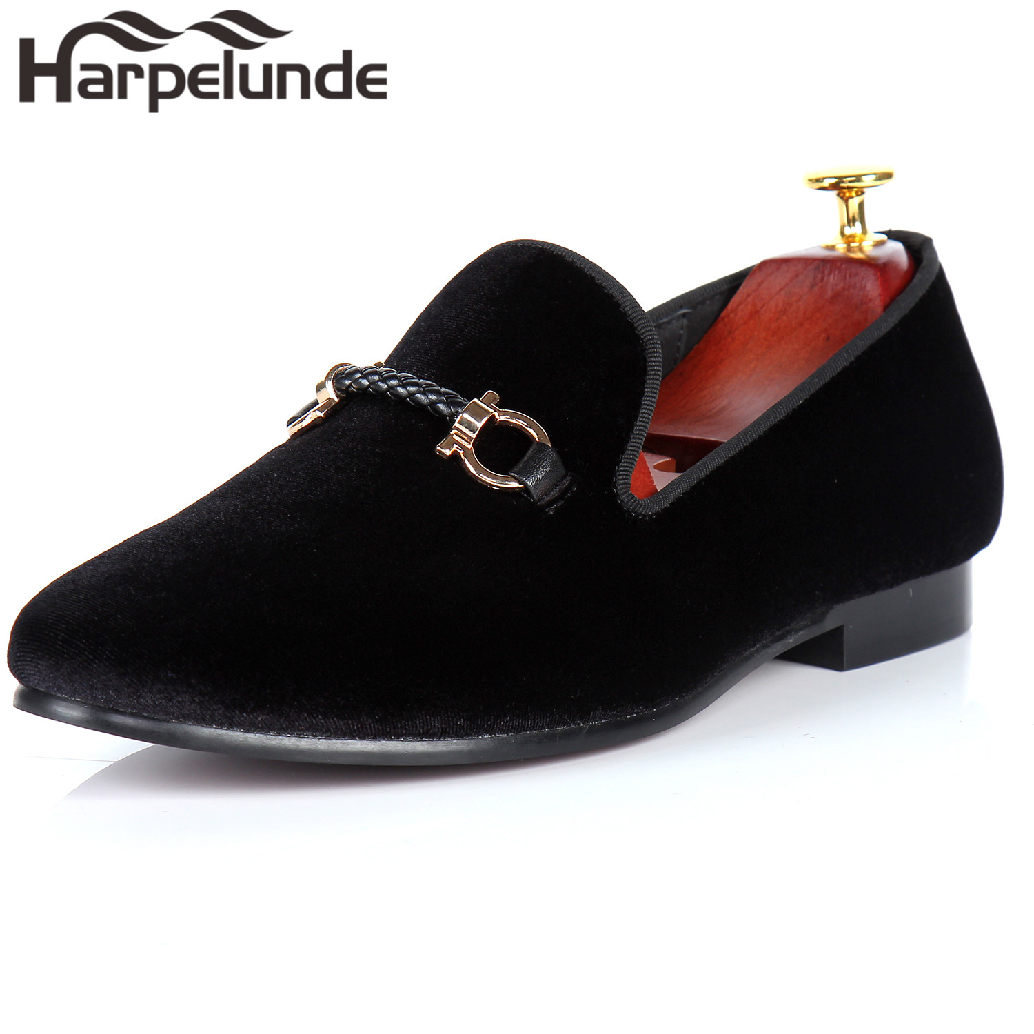 Harpelunde Buckle Men Dress Shoes Black Velvet Loafers Fashion Footwear Size 6-14 harpelunde animal buckle men dress loafers printed velvet flat shoes with copper cap toe size 6 to 14