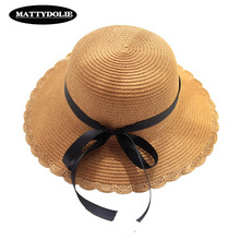 MATTYDOLIE SummerHat Girl Black Ribbon Bow Straw Hat Dome Wide Side Outdoor Beach Solid Color Sun 2019 New