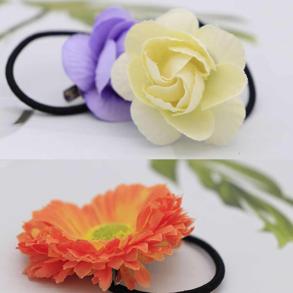 2pcs Girls Flower Fabric Hair Accessories Korean Multi-layer Three-dimensional Daisy Rose Elastic Hair Bands Rubber Hair Ties
