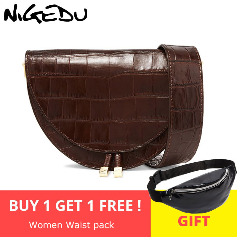NIGEDU Women Crossbody Bag Fashion Crocodile Semicircle Saddle Bags PU Leather Shoulder Bags for female Handbags designer bolsas-in Shoulder Bags from Luggage & Bags on Aliexpress.com | Alibaba Group
