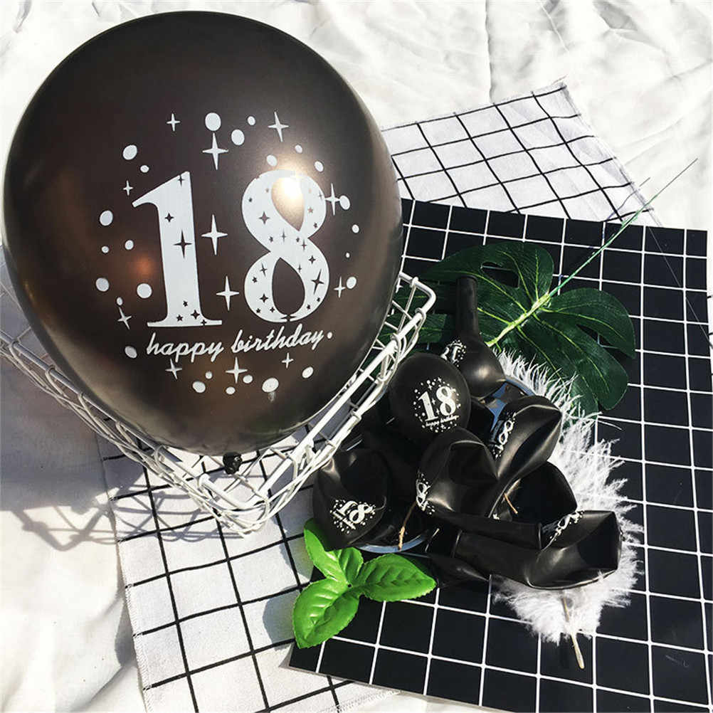 18th Happy Birthday Balloons Wedding Anniversary Decoration Black Pink Globos Party Supplies