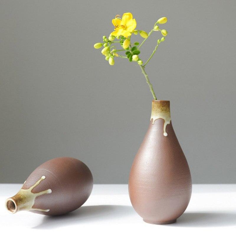 Handmade Ceramic Vase Home Decor Retro Tabletop Vases For Flowers