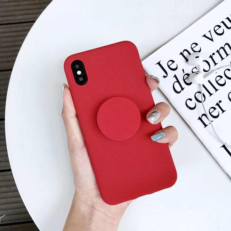 63515eb83aab1 Color Scrub Pink black Matte soft TPU silicone phone case for iphone XS MAX  case 6 6s 6plus 7 8 plus XR case capa with Kickstand