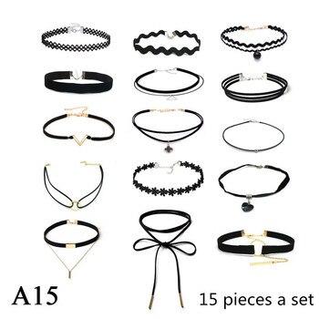 ZOEBER 15 Pcs a set Choker Necklace Black Lace Leather Velvet strip woman Collar Jewelry Neck accessories chokers colar kolye lace choker necklace set