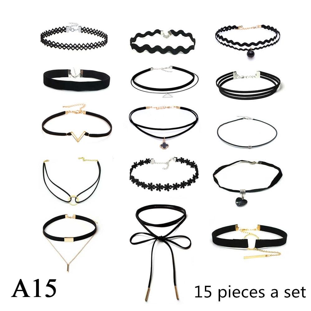 ZOEBER 15 Unids un conjunto Gargantilla Collar tira de Terciopelo de Cuero mujer de Encaje Negro accesorios de Cuello Collar de La Joyería gargantillas colar kolye
