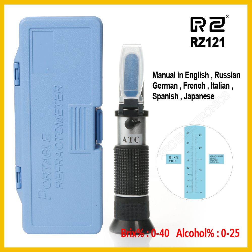 RZ Genuine Retail Package Alcohol Refractometer Sugar Grape Wine Concentration 0~25% Alcohol 0~40% Brix Tester Meter ATC RZ121 цены