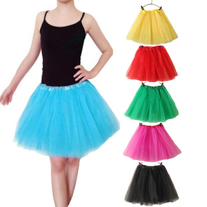 Image 1 - 15Inch Length Classic Womens Tulle Skirts Elastic Tutu Skirts Solid Color High Waist Sweet Toddlers Ballet Skirt Blue Pink Rose