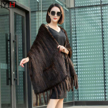Scarf Shawl Mink-Fur Winter Warm Knitted Natural Women Genuine Autumn Hot-Sale Lady