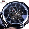 Forsining 3D Literal Design Roman Number Black Dial Designer Watches Men Luxury Brand Erkek Kol Saati Skeleton Watch Clock Men