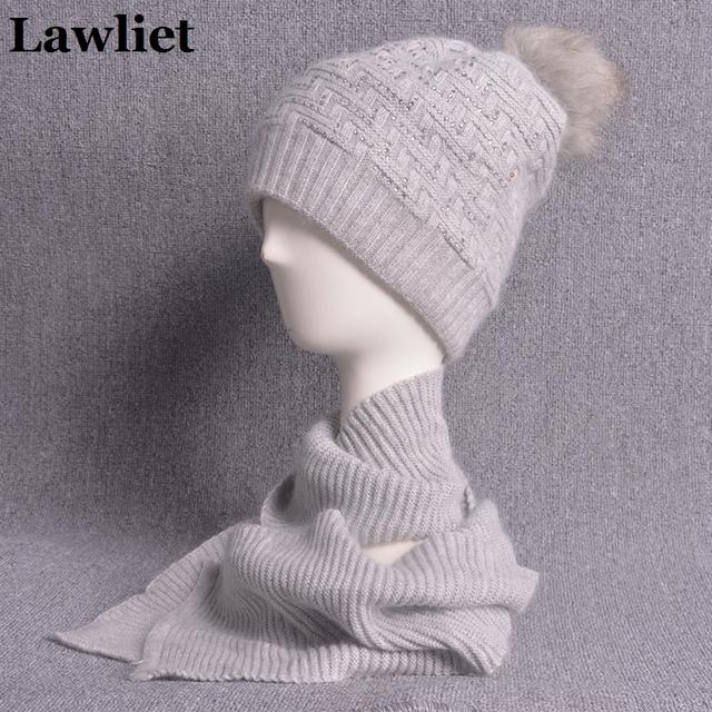 2017 Novos Chapéus de Inverno das Mulheres de Lã Grossa de malha Chapéu Feminino com Longa Quente Conjunto Cachecol Bonnet Femme Gorros Pom Pom CapT191
