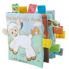 Baby Learning&Education Animal embroidery Soft Cloth Book animals Fabric Book Infant Baby Early Education Cloth Books goat