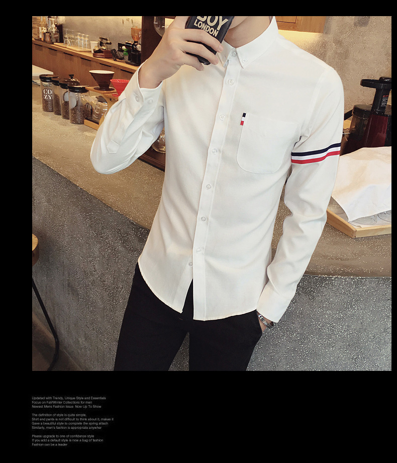 2017 New autumn men's casual tops brand shirt striped Strip decorate cotton men fashion solid color long sleeved Shirts M-XXXL 67