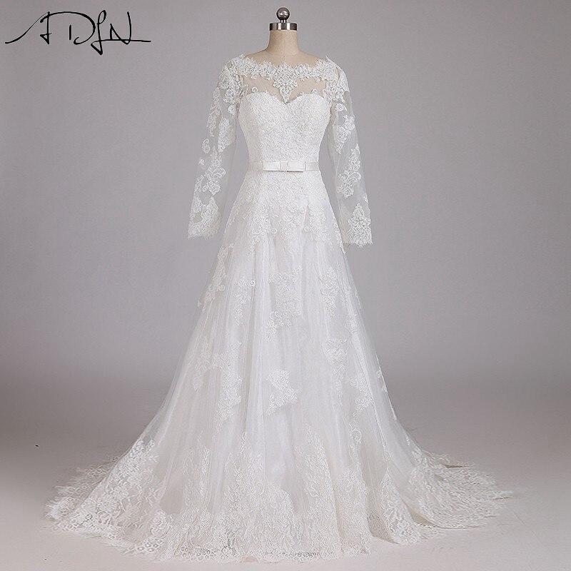 Adln vendedor caliente de una línea de encaje vestidos de novia blanco marfil po