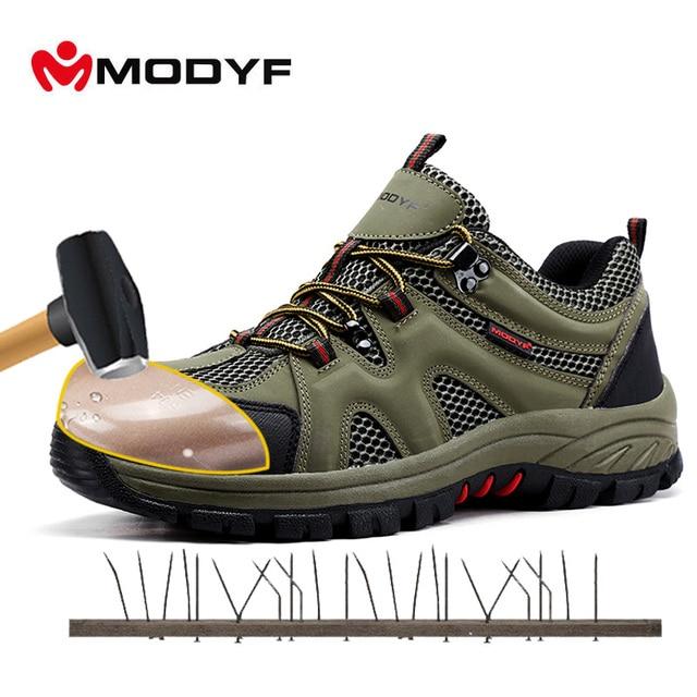 ca4af48ed3671 MODYF Homens Biqueira de Aço Sapatos de Segurança do Trabalho Calçado  Sapatilha Sapatos Casuais Ao Ar