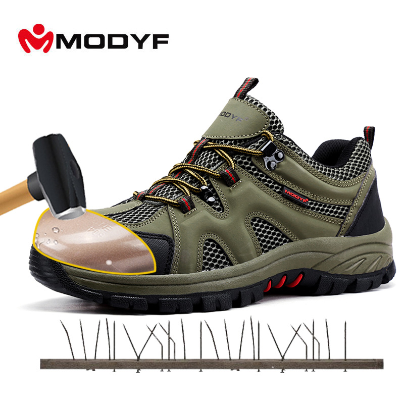 MODYF Men Steel Toe Cap Work Safety Shoes Casual Breathable Outdoor Sneaker Shoes Puncture Proof Footwear free shipping men steel toe cap work safety shoes reflective casual breathable hiking boots puncture proof protection footwear