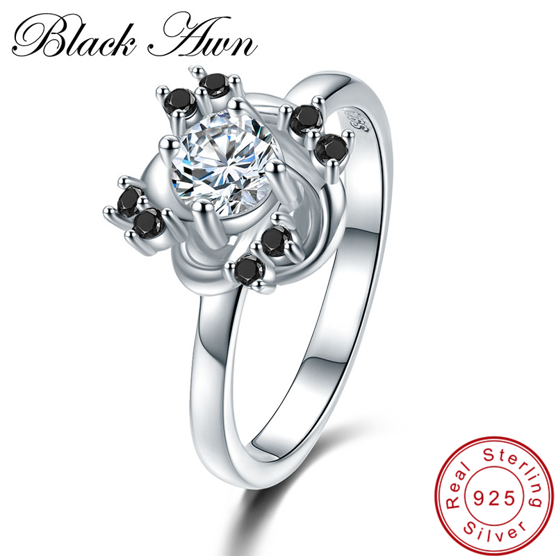 font b BLACK b font AWN Flower 3 2g 925 Sterling Silver Jewelry font b
