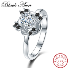 [BLACK AWN] Flower 3.2g 925 Sterling Silver Jewelry Black Stone Engagement Rings for Women Round Zircon Wedding Ring C416