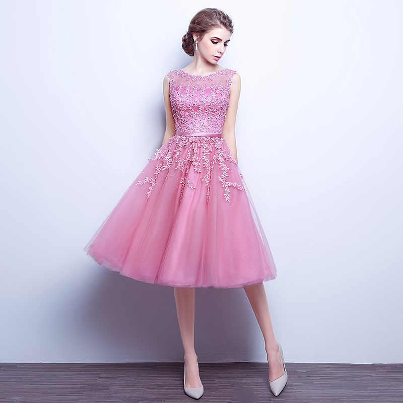 c3e7469bece Robe De Soiree Pink Lace Short Evening Dresses Embroidery with Beaded  Perspective Backless Fashion Party Bride Prom Formal Dress-in Evening  Dresses from ...