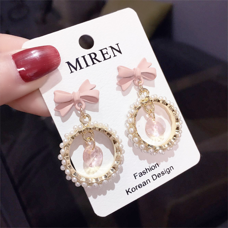 Bowknot pearl circle earrings sweet girl heart steel needle anti allergy color women fashion jewelry wholesale TF97 in Drop Earrings from Jewelry Accessories