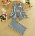 2016 Mujeres Del Invierno Del Otoño de Punto Con Estilo Tops + Faldas Set de Manga Larga de Las Señoras Sólidas Mujer Tejer Suéteres Trajes de Falda