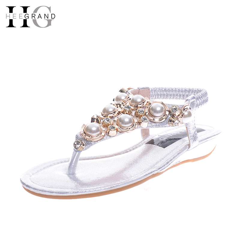 HEE GRAND Summer Flip Flops Gladiator Sandals Slip On Wedges Platform Shoes Woman Gold Silver Casual Flats Women Shoes XWZ2907 hee grand 2017 wedges gladiator sandals bling crystal flip flops sexy high heels gold casual platform shoes woman xwz3463
