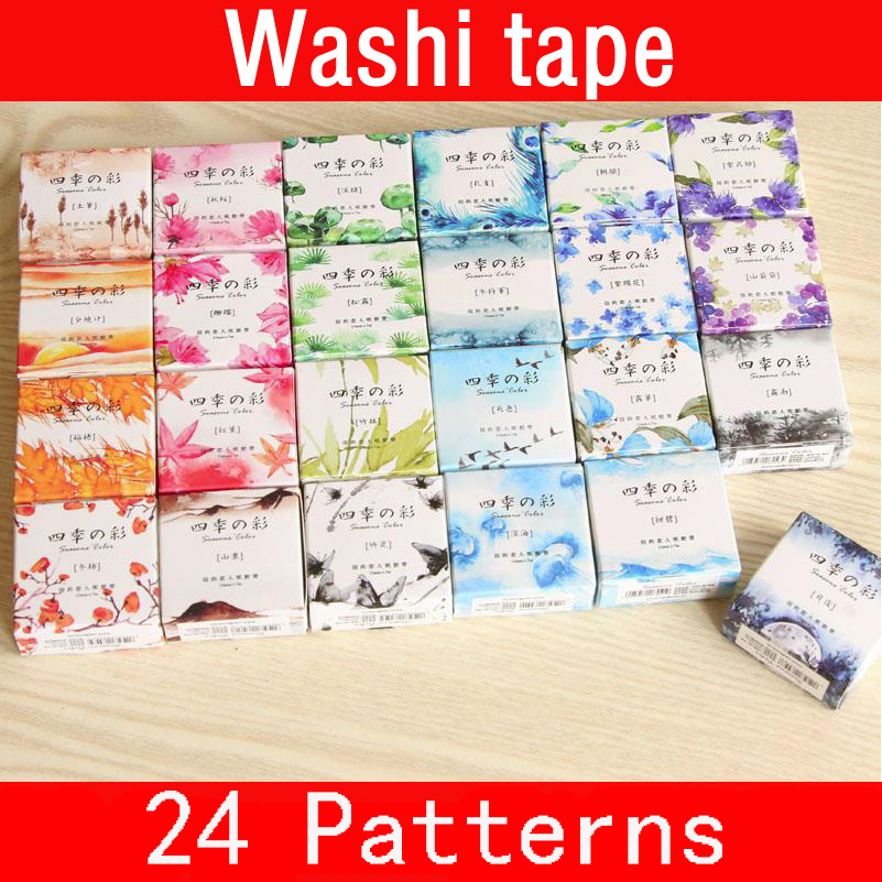 24pcs/set 15mmX7m Washi Tape Japanese Washi Decorative Adhesive Tape DIY Masking Paper Tape Sticker Stationery tape 02449