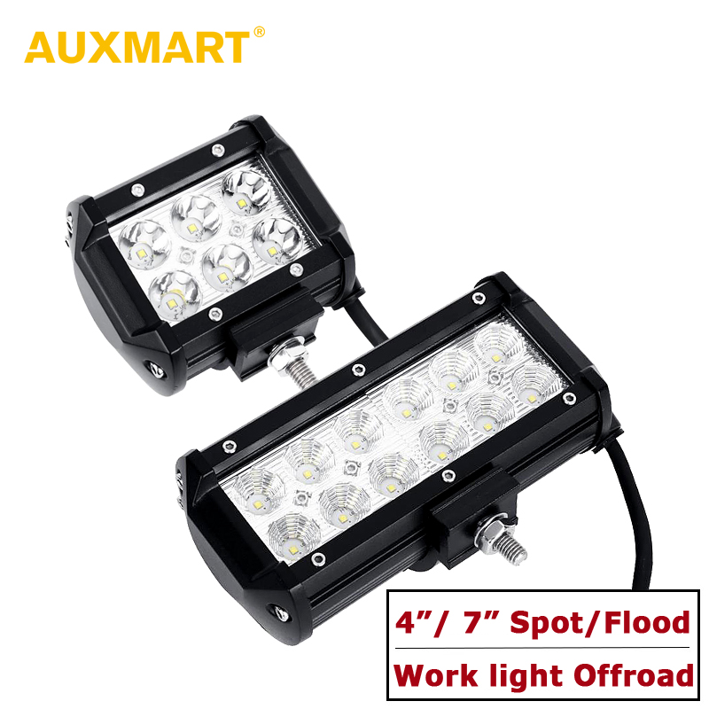 Auxmart Spot Beam / Flood Beam 4inch 7 LED Work Light Offroad Tractor Truck 4x4 SUV ATV Motorcycle Headlight Fog Lamps 12V 24V 52inch 300w led light bar for off road indicators work driving car truck 4x4 suv atv fog spot flood beam 12v 24v led headlight