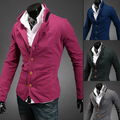 Трикотажные мужской тонкий декольте цвет блока украшения стоять воротник пиджак мужская модная свободного покроя одежда синий костюм верхняя одежда