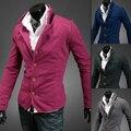 Para hombre de punto delgado escote decoración del bloque del color del collar del soporte hombres de la chaqueta de ropa casual de moda traje azul ropa de abrigo
