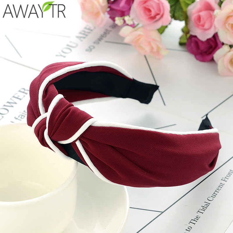 Headband for Women Wide Knot Hairbands Vintage Hair Accessories  Bowknot diademas para mujer Solid Color Headwear