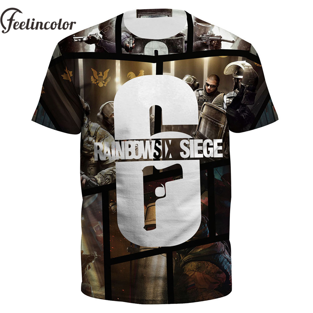 Feelincolor 2018 New T shirt Men 3D Printed Rainbow Six Siege T-shirt Unisex Summer Tshirt Tee Tops shirts homme Dropship