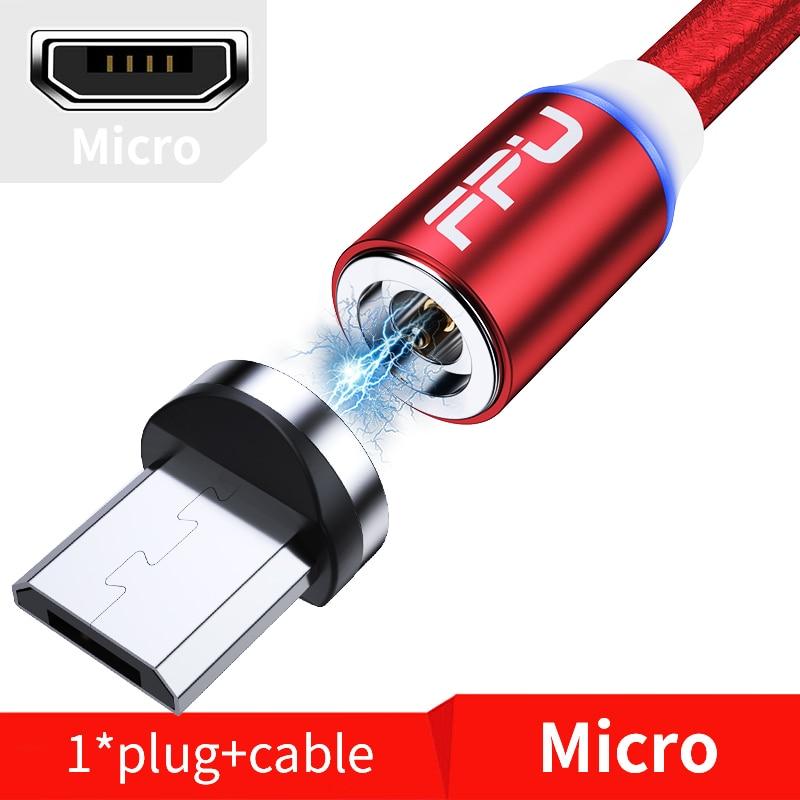 FPU 3 м Магнитный Micro USB кабель для iPhone samsung Android мобильный телефон Быстрая зарядка usb type C кабель магнит зарядное устройство провод шнур - Цвет: Red Micro Cable