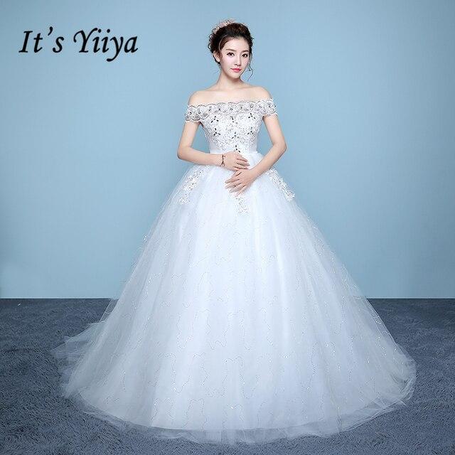 28ecce0644 Es YiiYa blanco sin mangas rojo barco cuello vestido bordado de cristal  Plus tamaño embarazada con