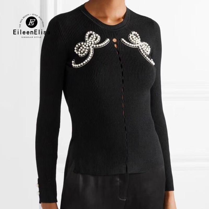 Свитер женские длинный рукав Перл Бисер галстук бабочка Вязание свитер 2018 черный тонкий Пуловеры Топы женские