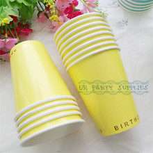 New Design!!! 64pcs Paper Cups Yellow with Gold Foil Happy Birthday Party Supplies Drinking Paper Cups Candy Salad Container