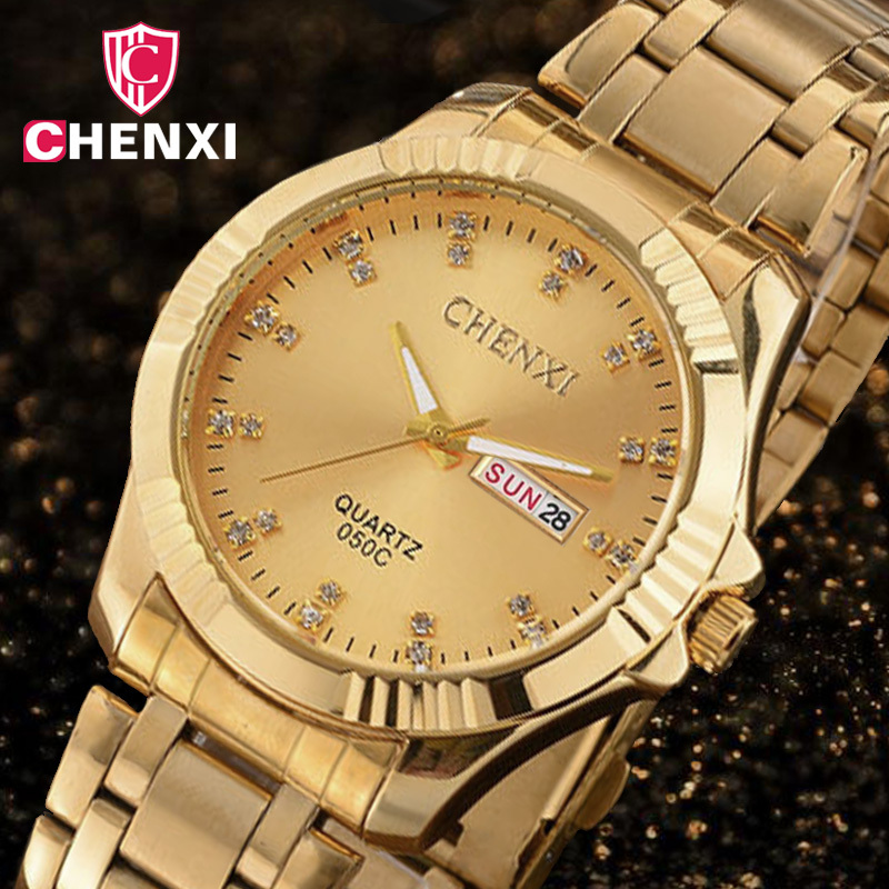 CHENXI Gold Watch Business-Dress Rhinestone Minimalism Luxury Brand Quartz For Man Simple